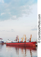 Seaport and tower cranes. The Odessa trading seaport....