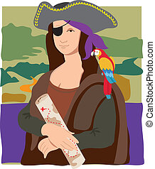 Mona Lisa Pirate - The Mona Lisa dressed as a pirate with a...