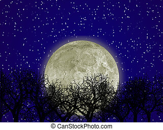 Moon and forest - The detailed moon with an aura in the...