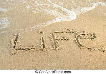 """Inscription """"life"""" on sand. Sea coast with a rolling wave on..."""