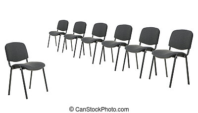 Set of chairs for discussion. It is isolated on a white...