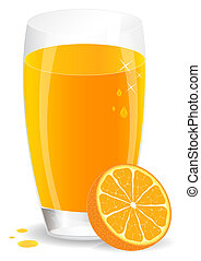 Orange juice. Vector illustration. - Icon of orange juice...