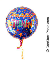 "A festive helium balloon with ""Happy Retirement"" written on..."