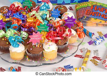 Cupcakes, 主題, 生日, 裝飾, 大淺盤, 愉快