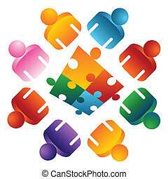 Puzzle Solving Team People - An image of a puzzle solving...