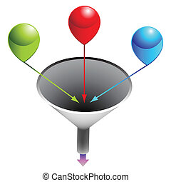 Three Stage Funnel Chart - An image of a three stage funnel...
