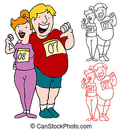 Couple Join Marathon to Lose Weight - An image of a...