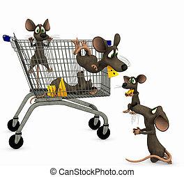 Ratos, ir, shopping