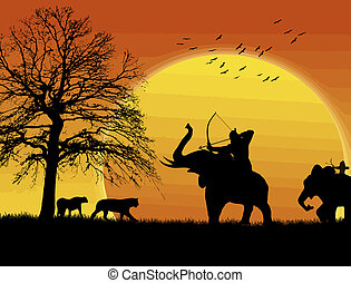 Archer elephant hunting for wild animals on sunset