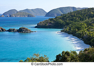 trunk bay us virgin islands - low aerial view of trunk bay,...