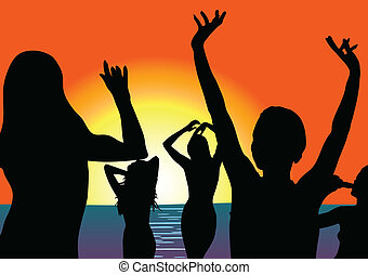 party on beach with girl silhouette