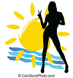 girl silhouette with sun illustration