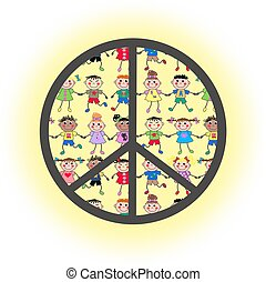 ethic mixed kids - methnic mixed kids inside a peace symbol