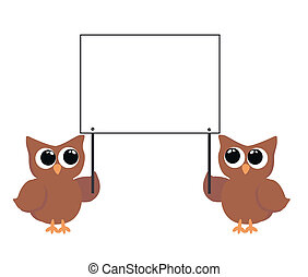 two owls holding  placard