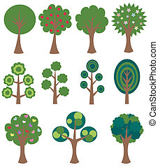 different trees design elements
