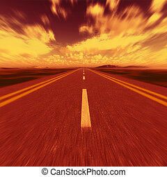 road to hell. A transport highway with to hell