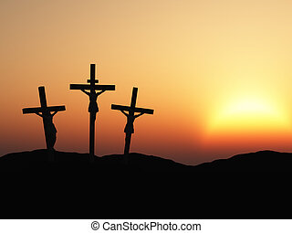 crucifixion and red sunset - The crucifixion. A cross with...