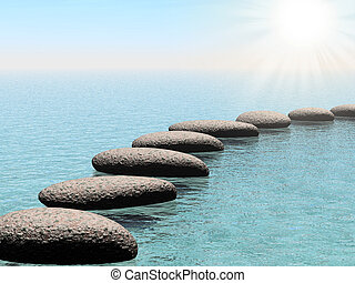 float stones with sun beam - float stones. A pebble on a...