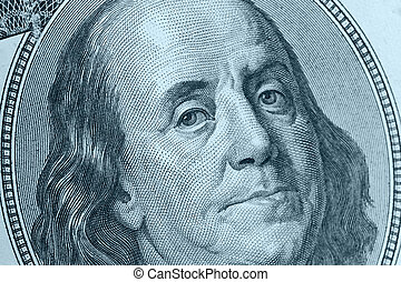 Benjamin Franklin close up blue color - Benjamin Franklin...