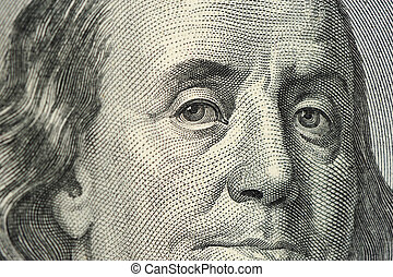 portrait Franklin - Dollar - close up. A fragment of a photo...