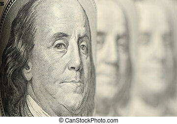 Benjamin Franklin A fragment of a photo hundred dollar...