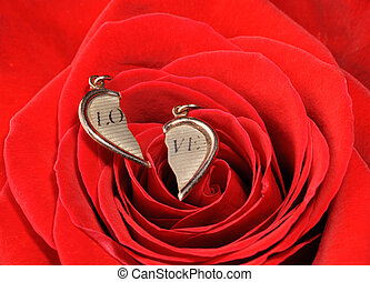 broken gold heart in a red rose - Ring in a red rose A...