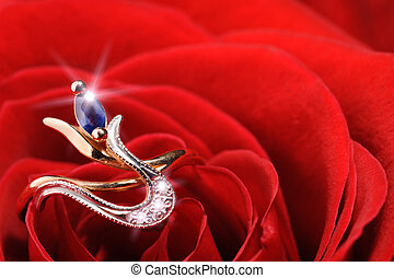 sparkle ring in a red rose - Ring in a white rose A jewelry...