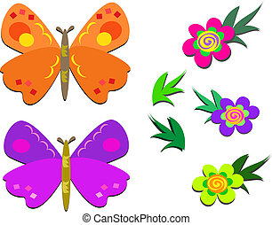 Two Cute Butterflies and Flowers - Here is a pair of...