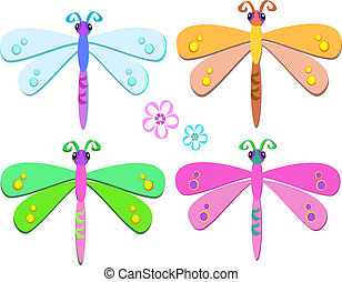 Mix of Sweet Dragonflies - Here is a group of colorful...