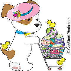 Cute Dog Easter Eggs - A cute puppy dog wearing a Spring hat...