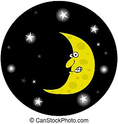 Man In A Half-Moon - This illustration depicts a half moon...