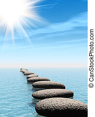 A row of stones in water with sun beam - A row of stones in...