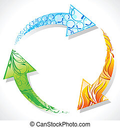 Recycle Symbol with Element of Earth