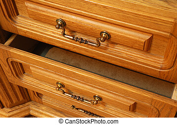 Boxes of a locker. A locker from a tree, with carved...