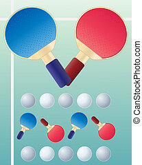 ping pong - an illustration of table tennis bats and balls...