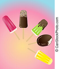 ice lollies - an illustration of a variety of ice lollipops...