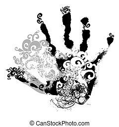 decorative handprint, vector