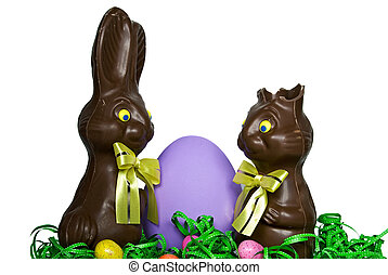 Edible Easter Ears - Chocolate Easter bunnies with purple...