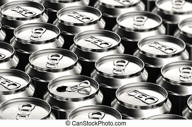 Soda Cans - One opened soda can amongst many unopened ones