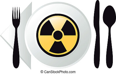 radioactive food, vector - place setting with radioactive...