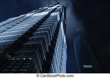 skyscraper on night sky