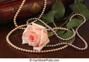pink rose and pearl beads