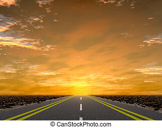 Road to a sunset. Road Asfaltnaja the leader in infinity on...