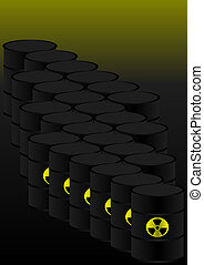 Nuclear Danger - Barrels With Radioactive Waste on Dark...