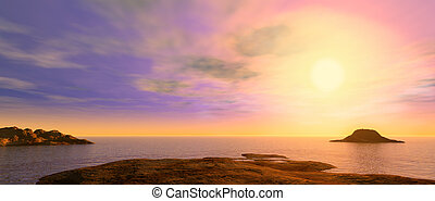 A picturesque sunset above oceans and reef - Sunset A...
