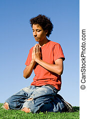 christianity, teen on knees in prayer