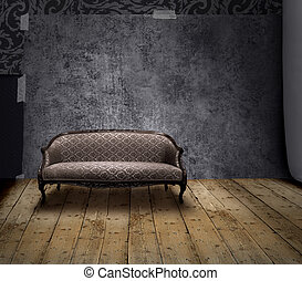 Sofa in mystery room - Antique sofa in rough patina wall and...