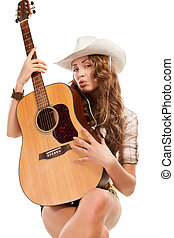 Sesy cowgirl in cowboy hat with acoustic guitar - Sesy...
