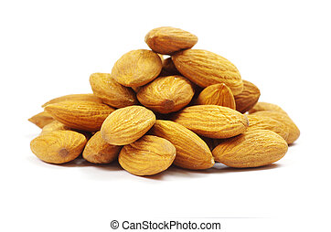 almonds isolated on a white