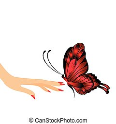 butterfly sits down on a hand - The beautiful butterfly sits...